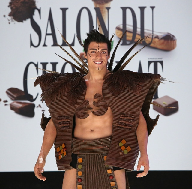 Taig Khris wears a creation made with chocolate during a fashion show at the inauguration of the 18th annual Salon du Chocolat in Paris on October 30, 2012.  The show, the world's biggest dedicated to chocolate, brings together fashion designers and chocolatiers from around the world.   UPI/David Silpa